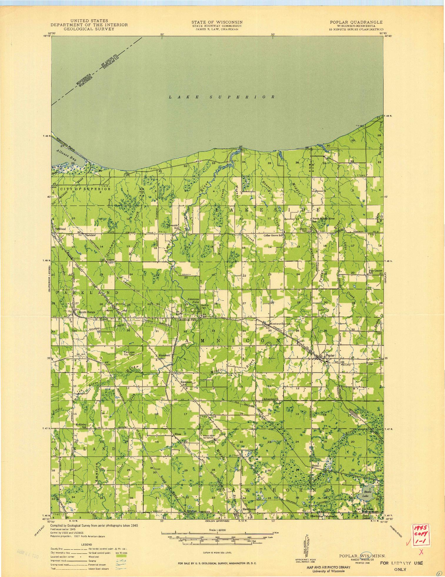 USGS 1:48000-SCALE QUADRANGLE FOR POPLAR, WI 1949