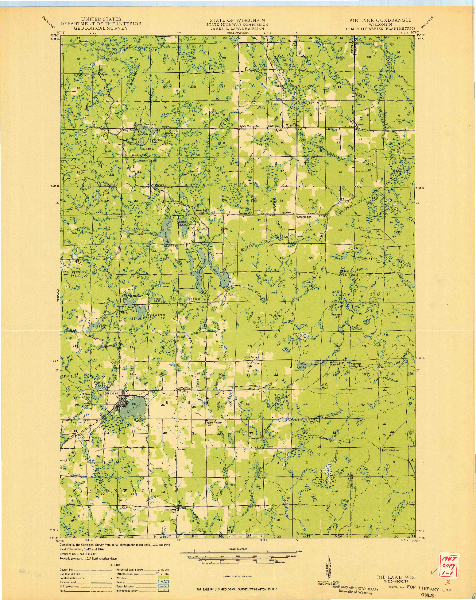 USGS 1:48000-SCALE QUADRANGLE FOR RIB LAKE, WI 1949