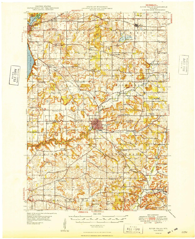 USGS 1:62500-SCALE QUADRANGLE FOR RIVER FALLS, WI 1949