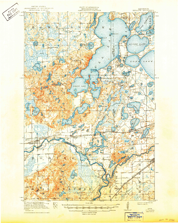 USGS 1:62500-SCALE QUADRANGLE FOR PILLAGER, MN 1919