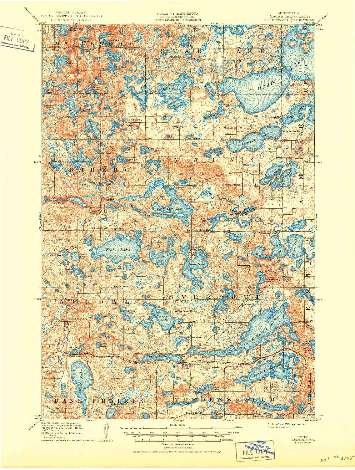 USGS 1:62500-SCALE QUADRANGLE FOR UNDERWOOD, MN 1915