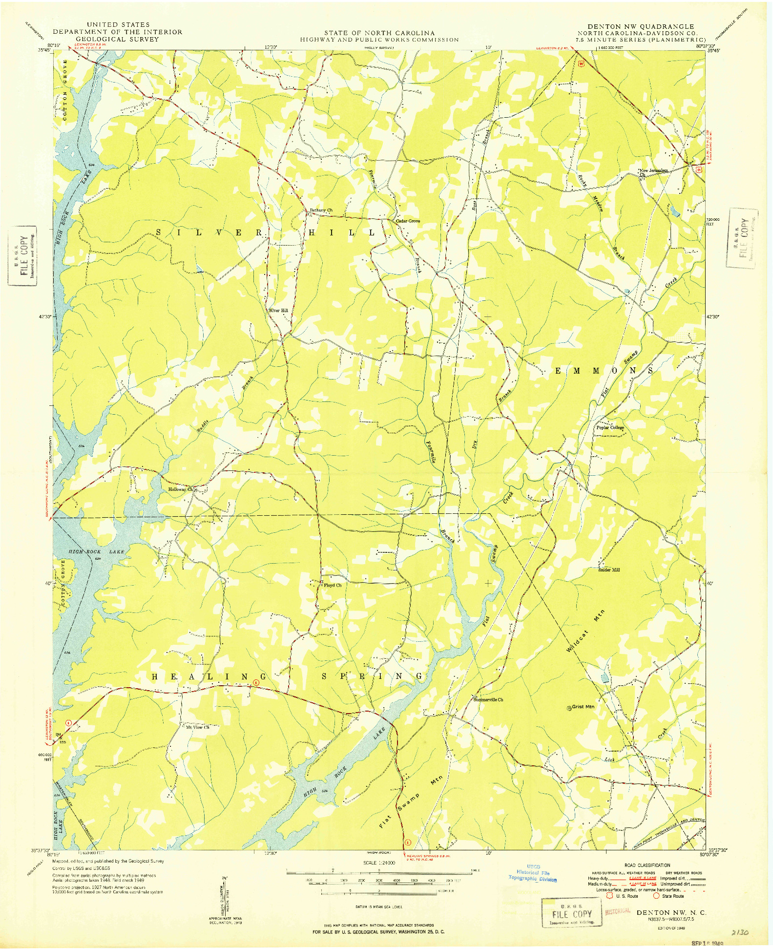 USGS 1:24000-SCALE QUADRANGLE FOR DENTON NW, NC 1949