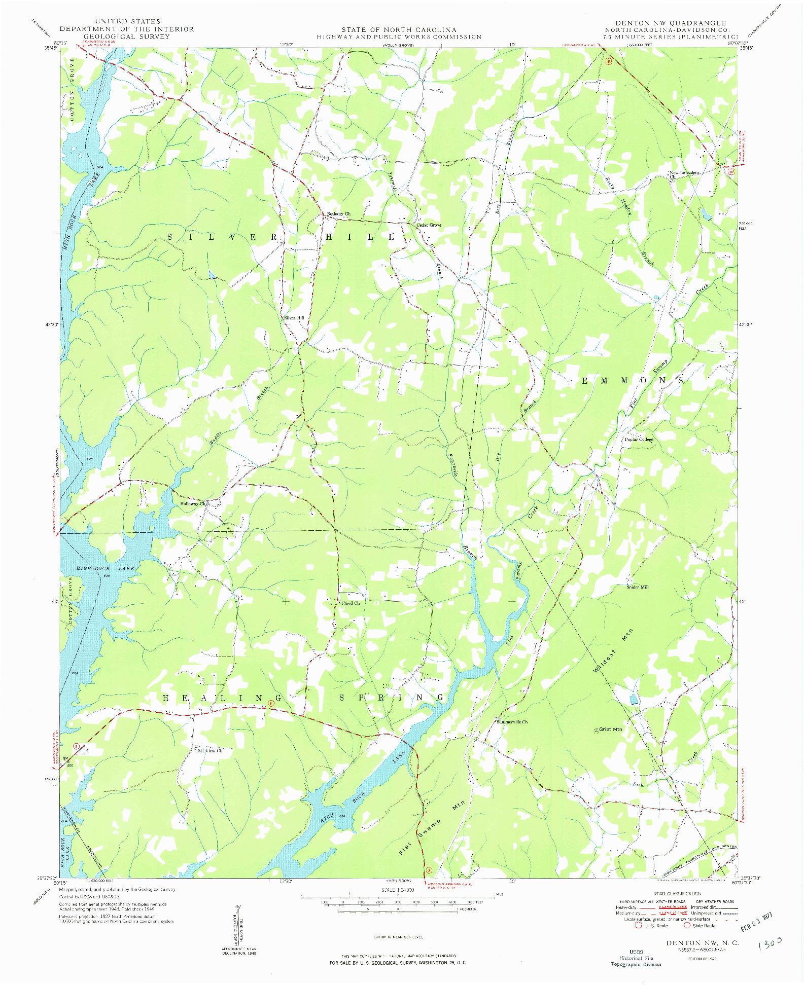 USGS 1:24000-SCALE QUADRANGLE FOR DENTON NW, NC 1949
