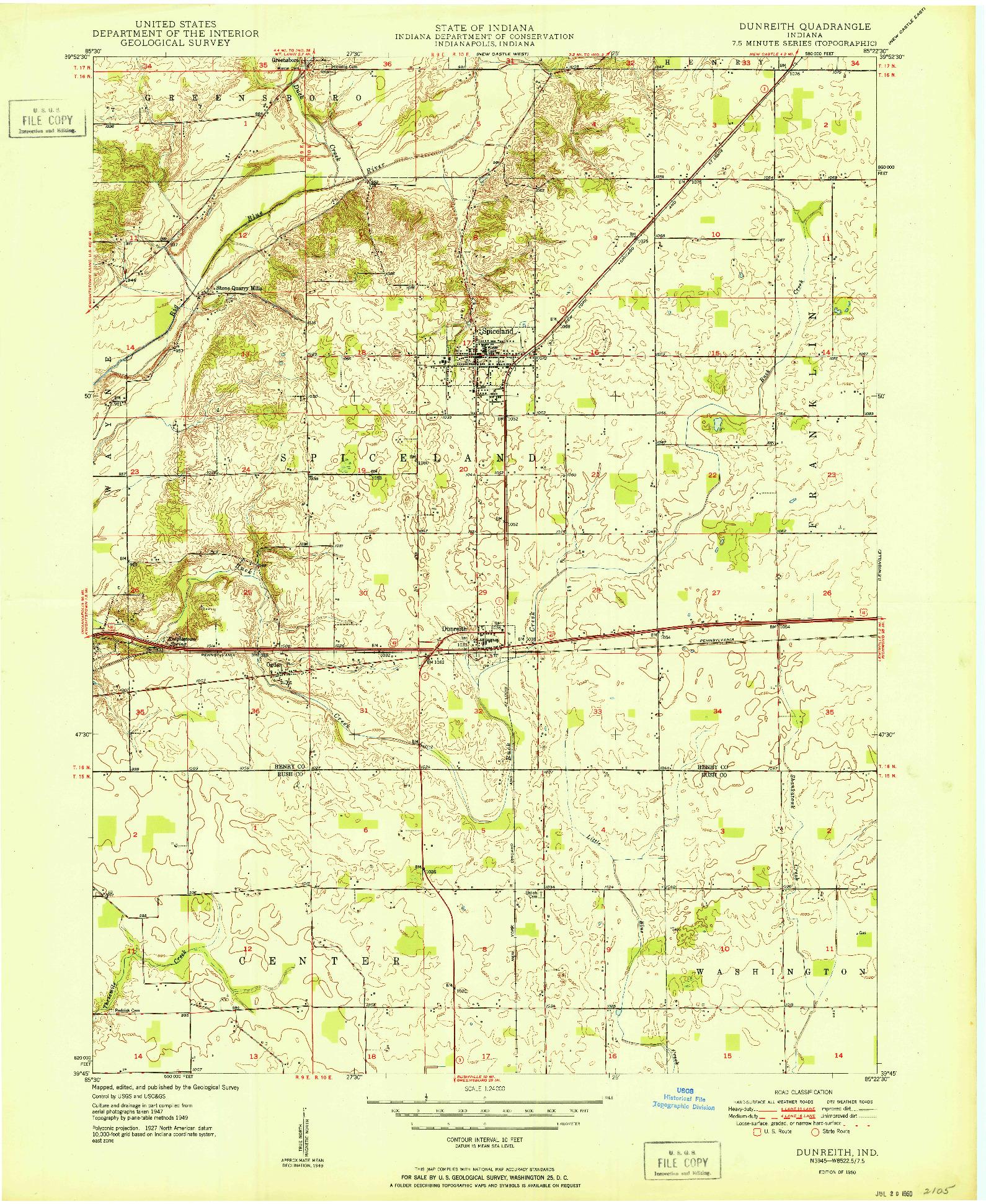 USGS 1:24000-SCALE QUADRANGLE FOR DUNREITH, IN 1950