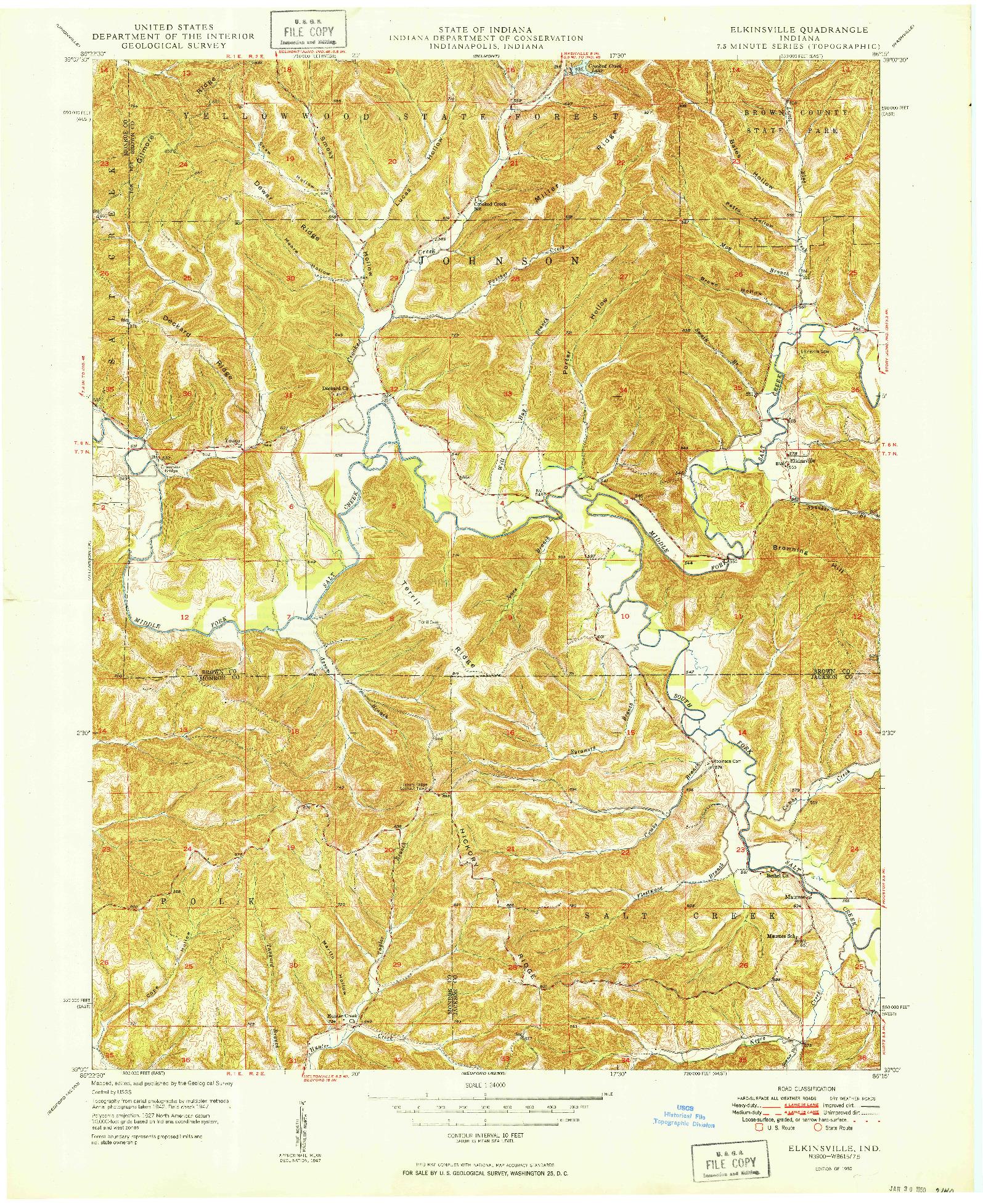 USGS 1:24000-SCALE QUADRANGLE FOR ELKINSVILLE, IN 1950