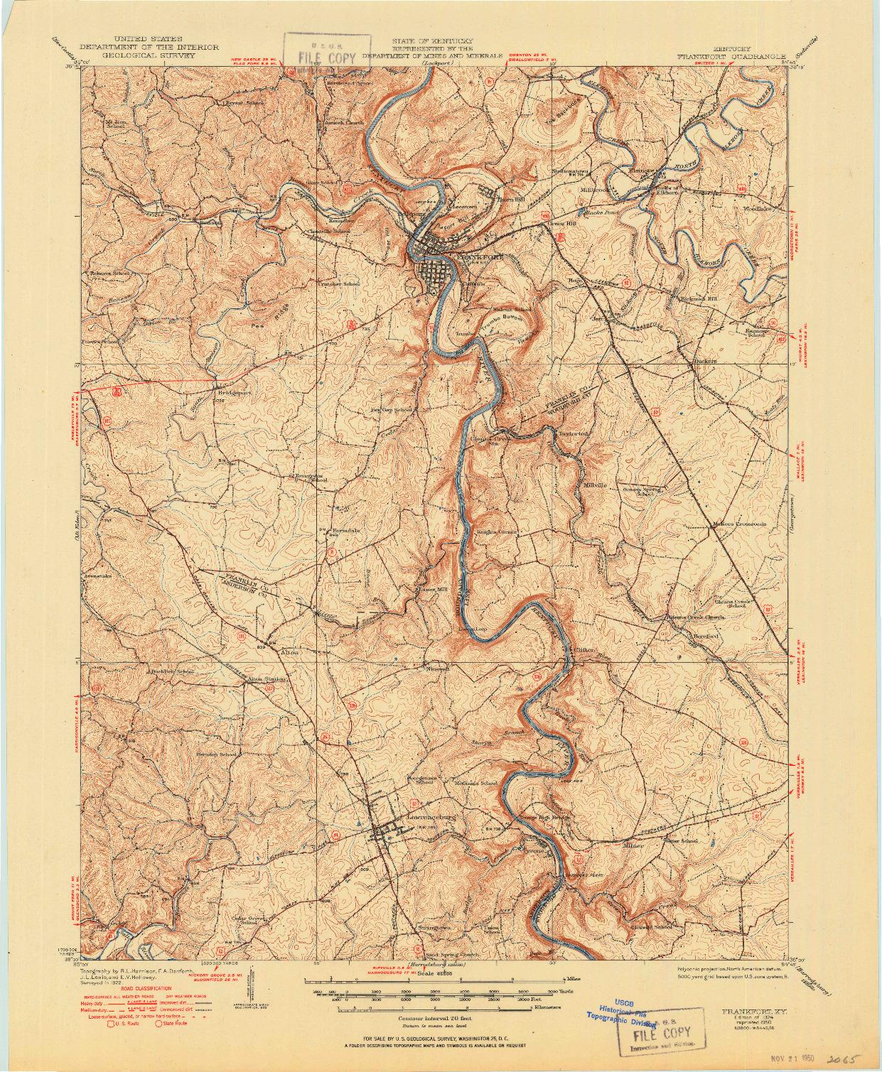 USGS 1:62500-SCALE QUADRANGLE FOR FRANKFORT, KY 1924