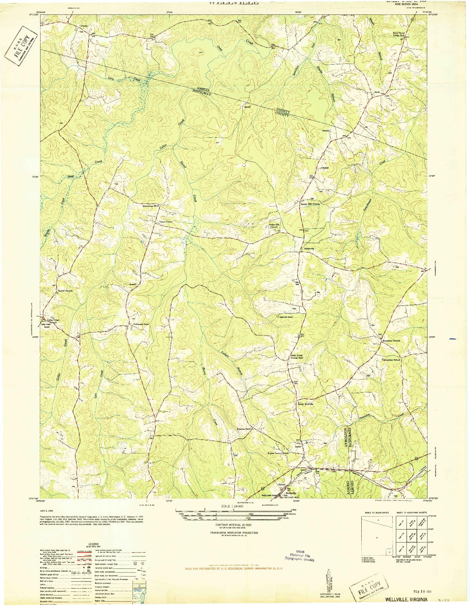 USGS 1:24000-SCALE QUADRANGLE FOR WELLVILLE, VA 1950