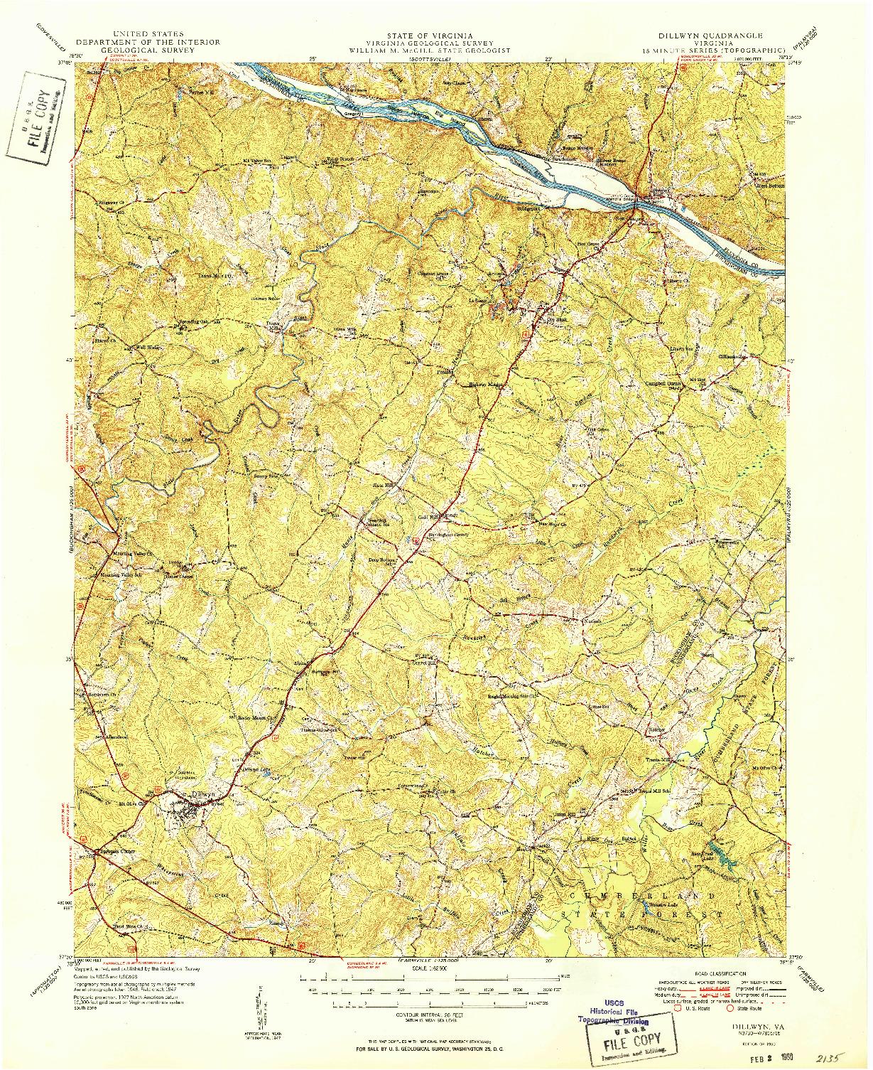 USGS 1:62500-SCALE QUADRANGLE FOR DILLWYN, VA 1950