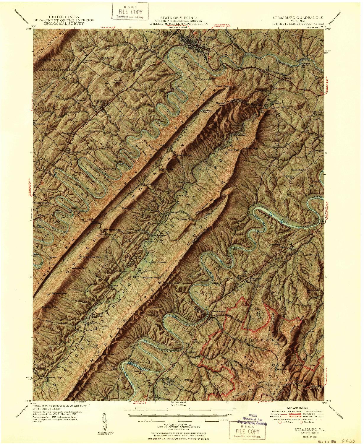 USGS 1:62500-SCALE QUADRANGLE FOR STRASBURG, VA 1950