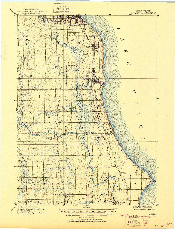 USGS 1:62500-SCALE QUADRANGLE FOR BAYVIEW, WI 1901