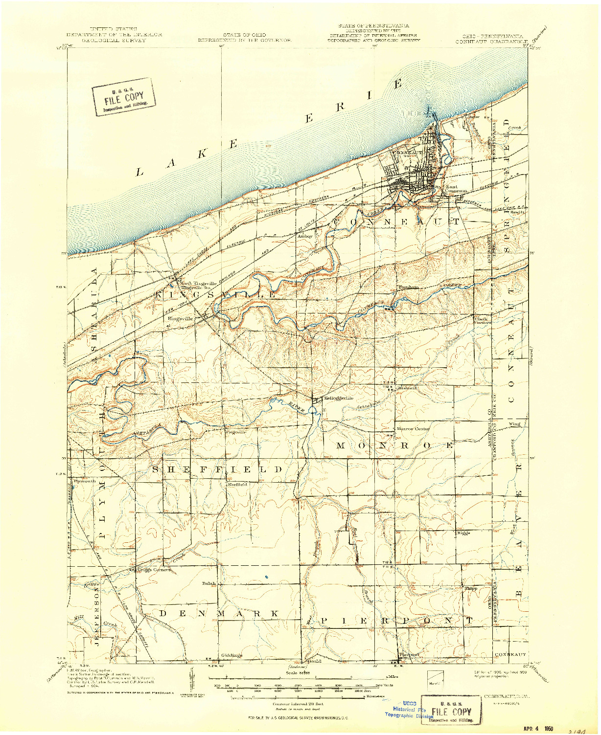 USGS 1:62500-SCALE QUADRANGLE FOR CONNEAUT, OH 1906
