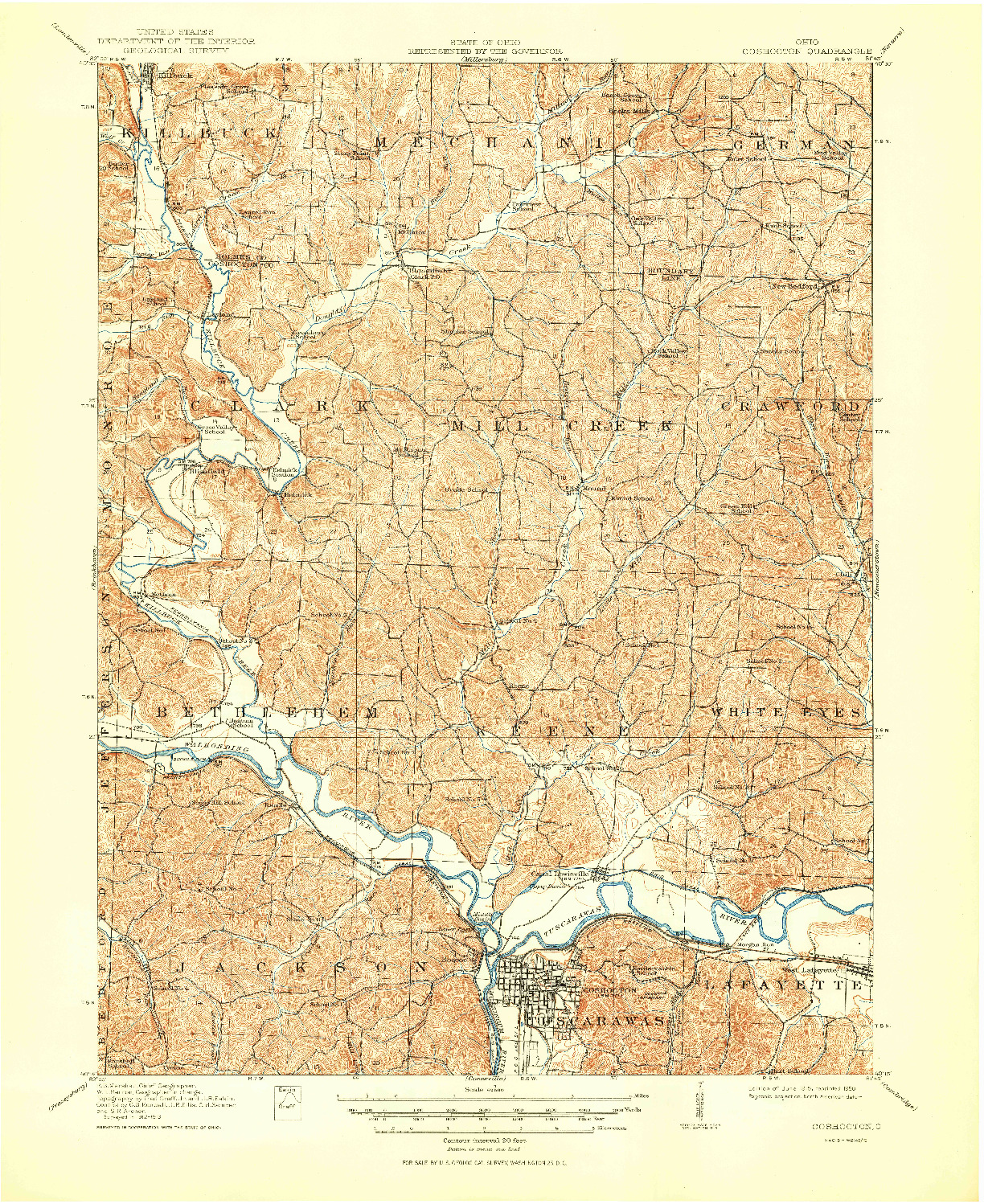 USGS 1:62500-SCALE QUADRANGLE FOR COSHOCTON, OH 1915