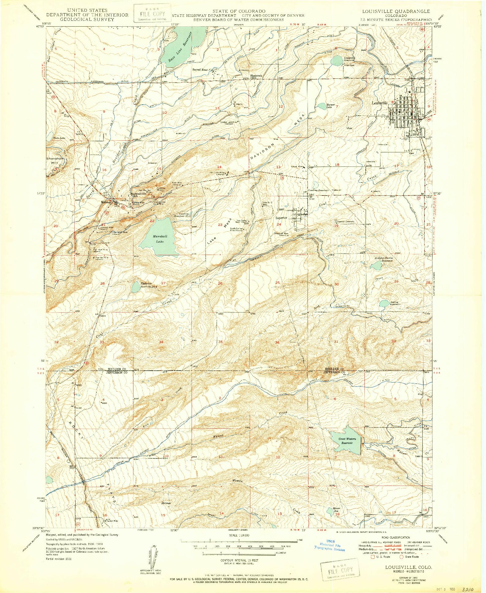 USGS 1:24000-SCALE QUADRANGLE FOR LOUISVILLE, CO 1942