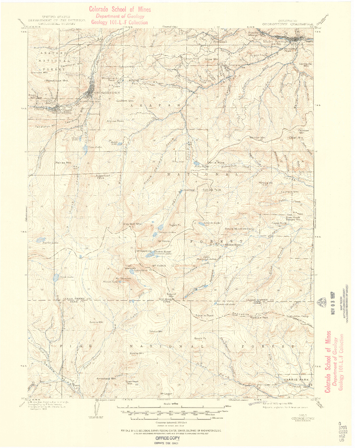 USGS 1:62500-SCALE QUADRANGLE FOR GEORGETOWN, CO 1905