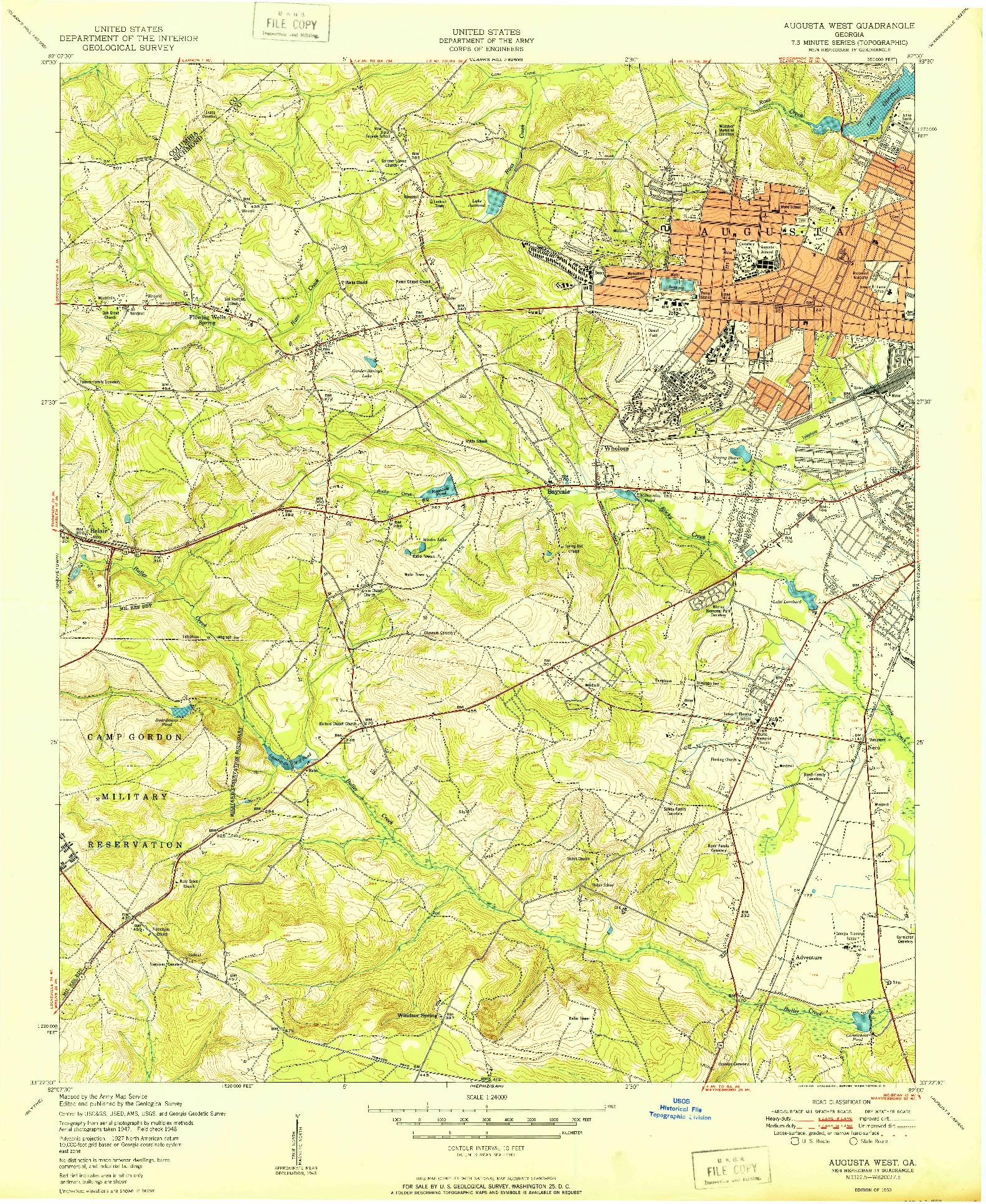 USGS 1:24000-SCALE QUADRANGLE FOR AUGUSTA WEST, GA 1950