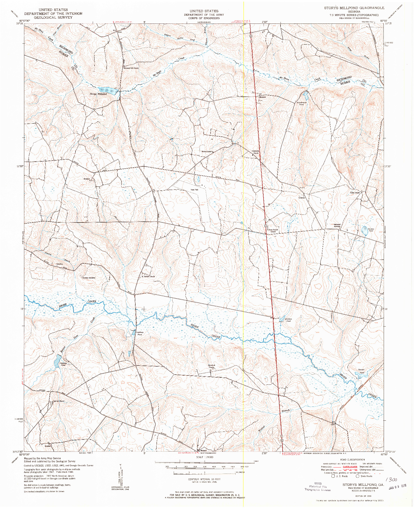 USGS 1:24000-SCALE QUADRANGLE FOR STORYS MILLPOND, GA 1950
