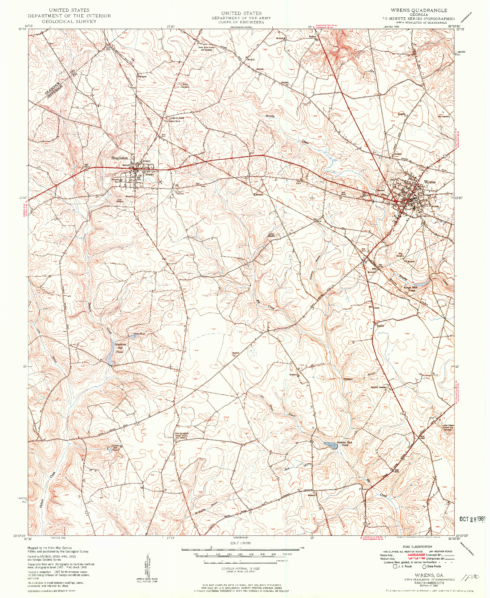 USGS 1:24000-SCALE QUADRANGLE FOR WRENS, GA 1950