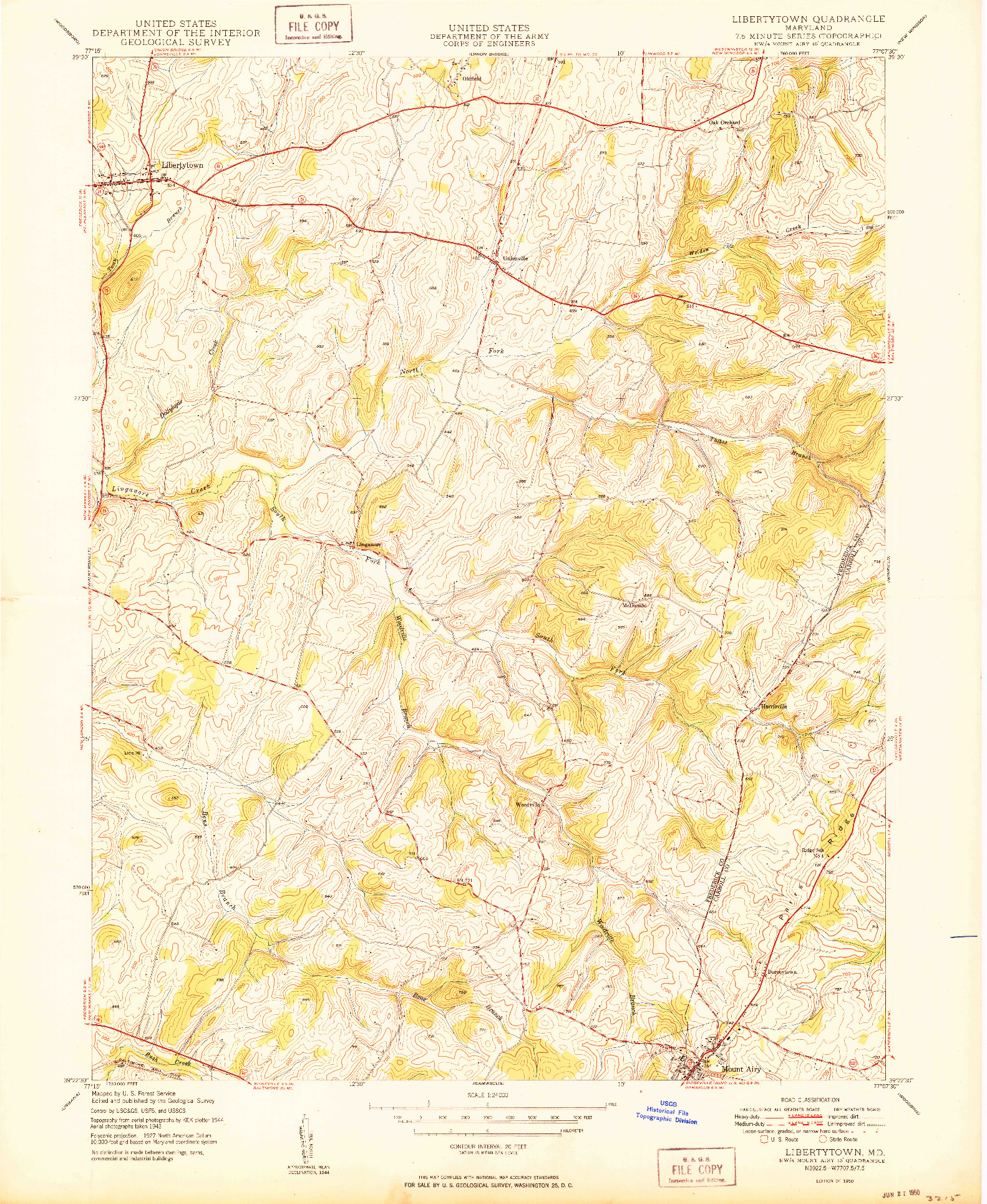 USGS 1:24000-SCALE QUADRANGLE FOR LIBERTYTOWN, MD 1950