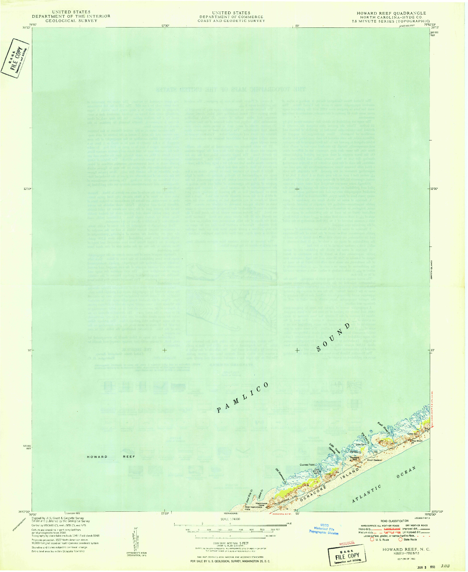 USGS 1:24000-SCALE QUADRANGLE FOR HOWARD REEF, NC 1950