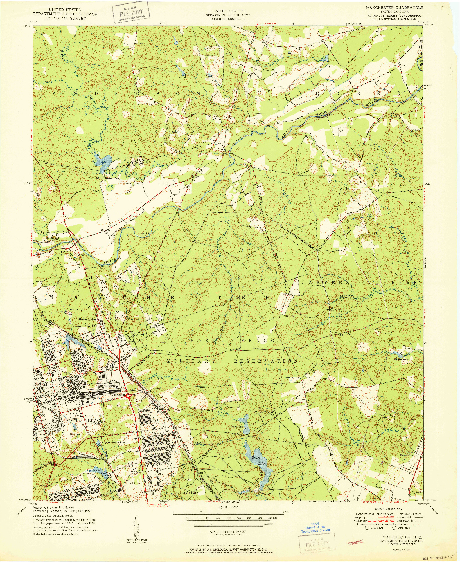 USGS 1:24000-SCALE QUADRANGLE FOR MANCHESTER, NC 1950