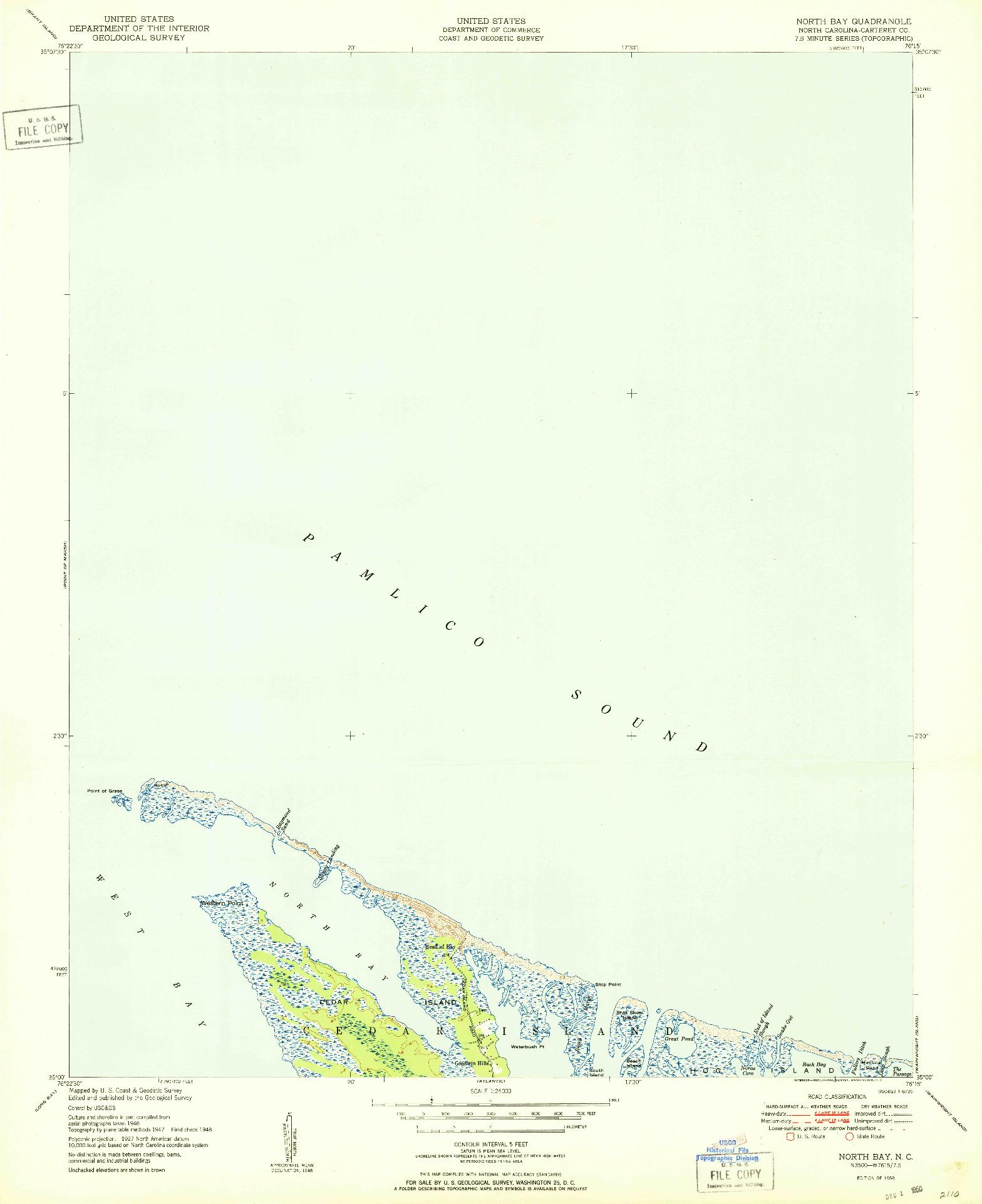 USGS 1:24000-SCALE QUADRANGLE FOR NORTH BAY, NC 1950