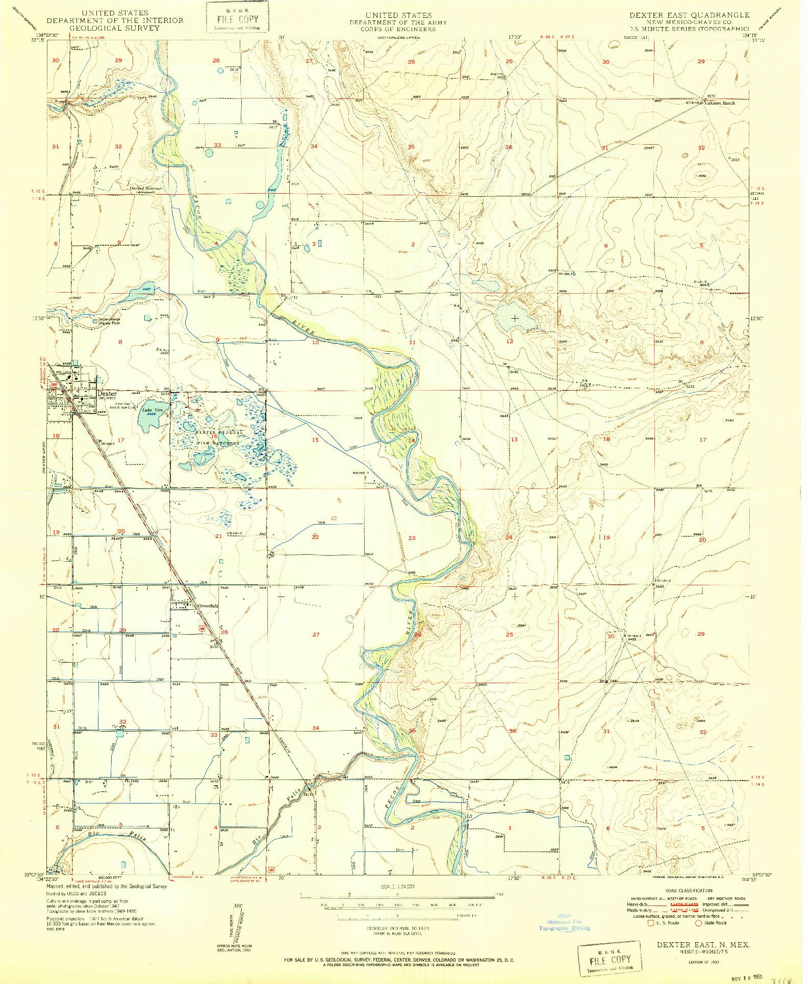 USGS 1:24000-SCALE QUADRANGLE FOR DEXTER EAST, NM 1950