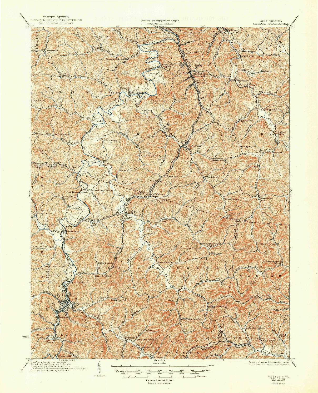 USGS 1:62500-SCALE QUADRANGLE FOR WESTON, WV 1926