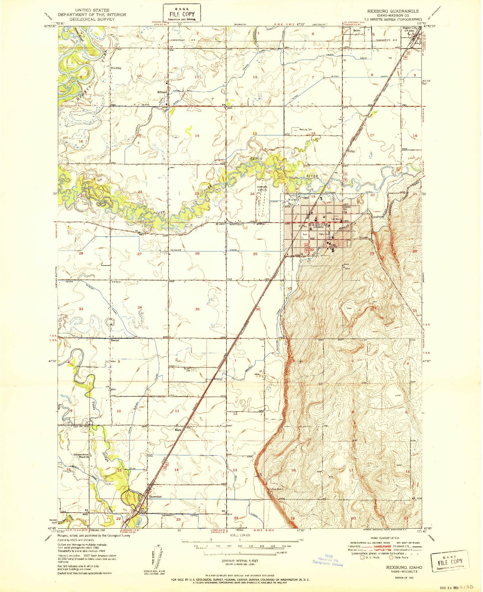 USGS 1:24000-SCALE QUADRANGLE FOR REXBURG, ID 1950