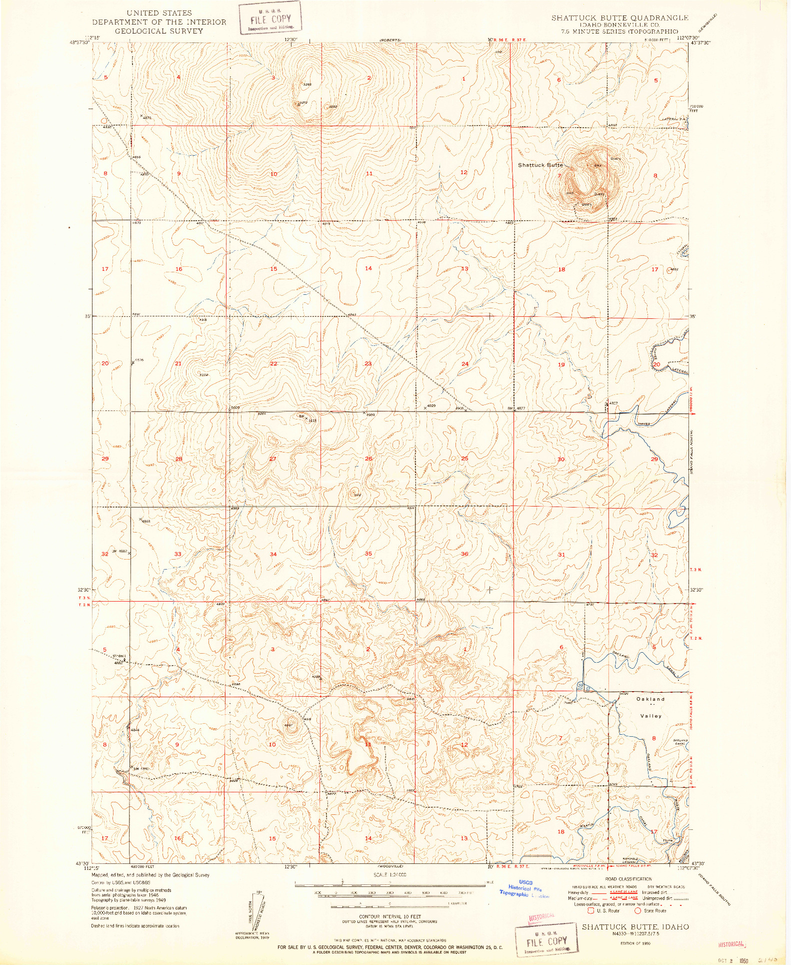 USGS 1:24000-SCALE QUADRANGLE FOR SHATTUCK BUTTE, ID 1950