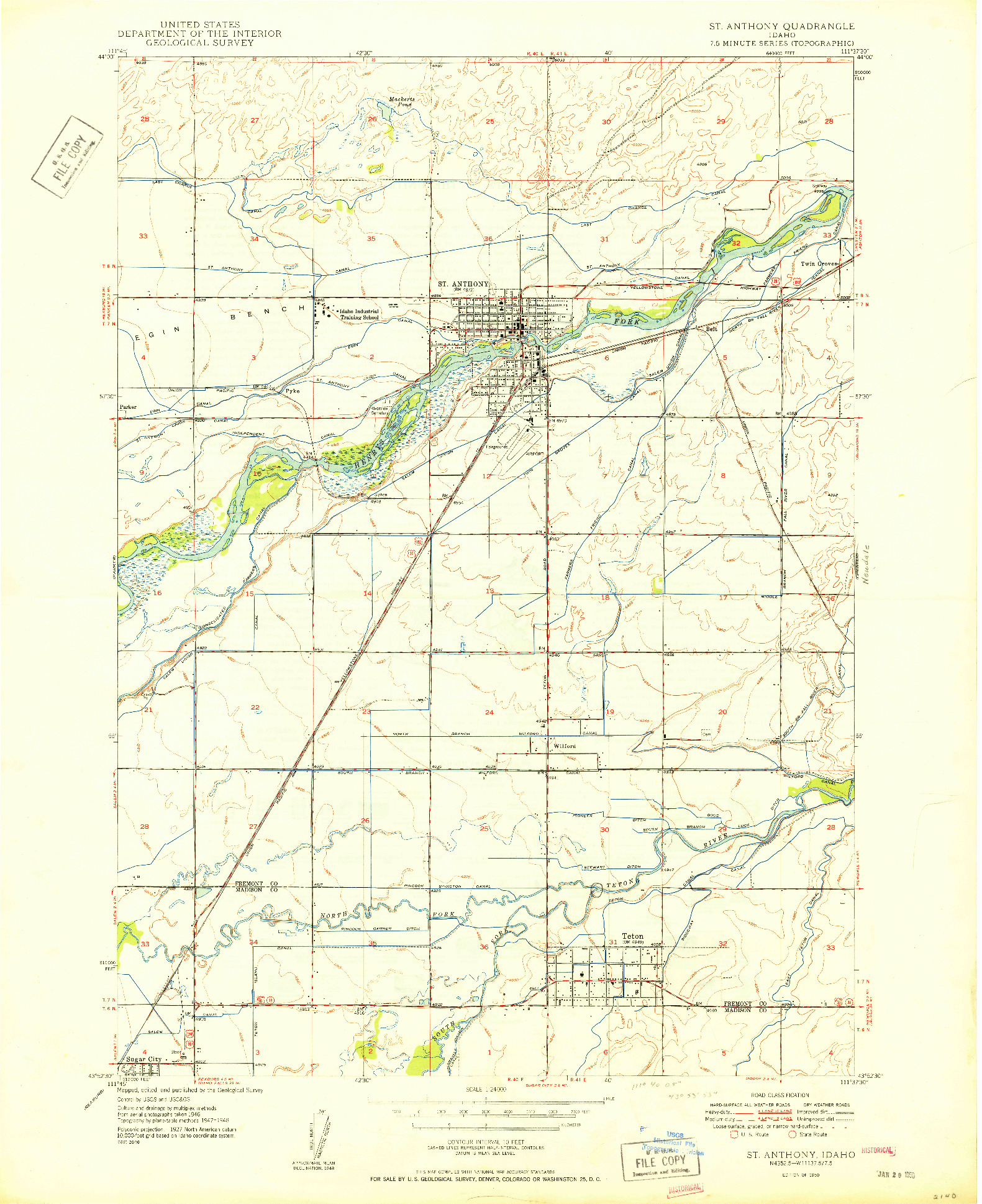 USGS 1:24000-SCALE QUADRANGLE FOR ST ANTHONY, ID 1950