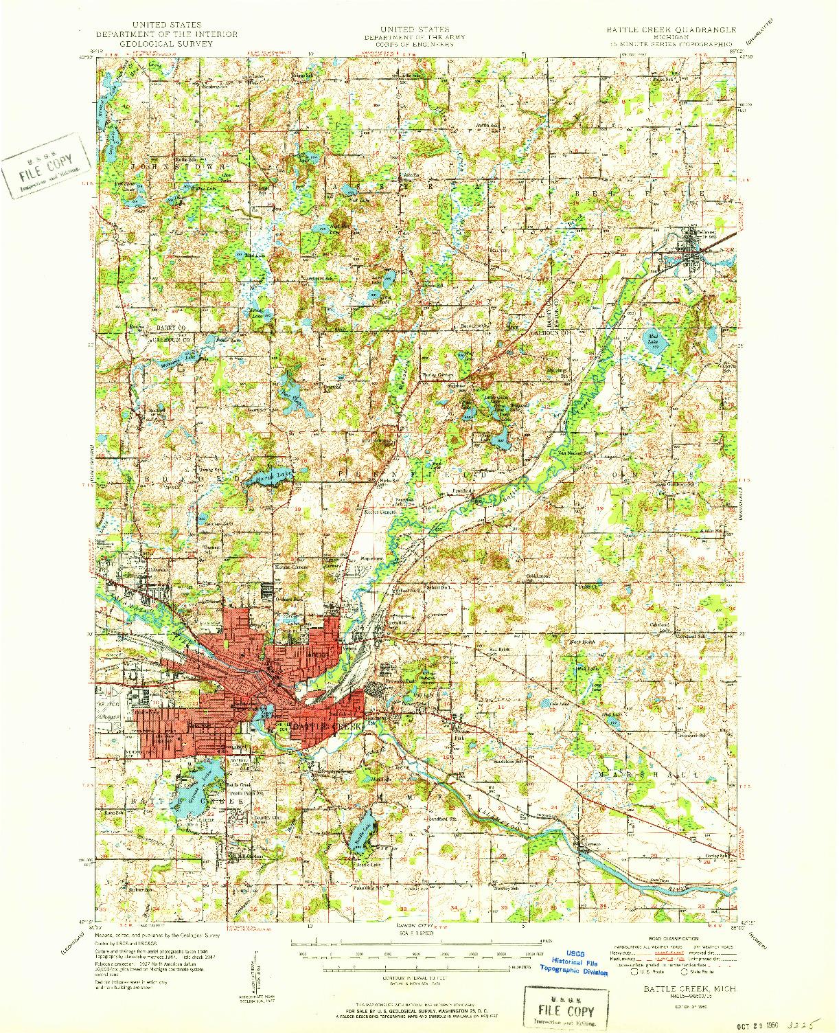 USGS 1:62500-SCALE QUADRANGLE FOR BATTLE CREEK, MI 1950