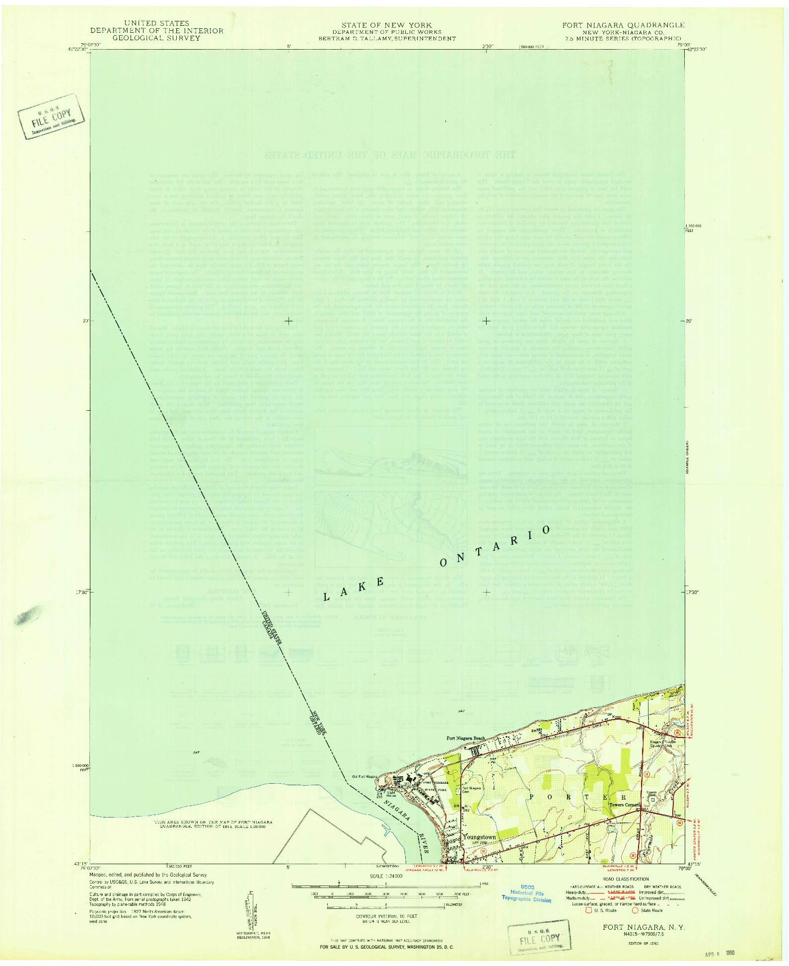USGS 1:24000-SCALE QUADRANGLE FOR FT NIAGARA, NY 1950