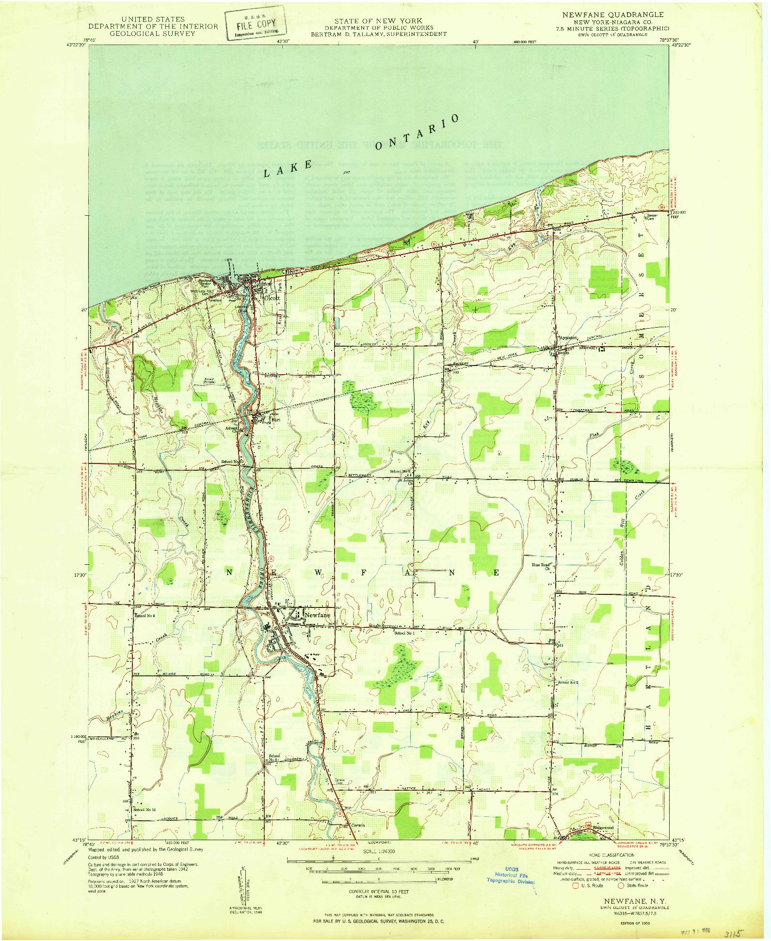 USGS 1:24000-SCALE QUADRANGLE FOR NEWFANE, NY 1950