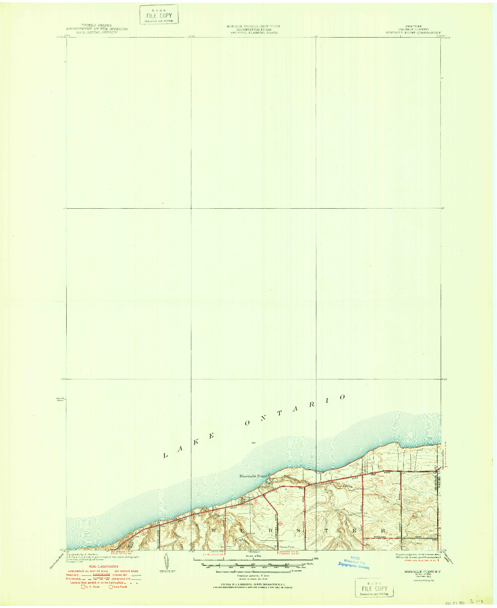 USGS 1:24000-SCALE QUADRANGLE FOR NINEMILE POINT, NY 1934