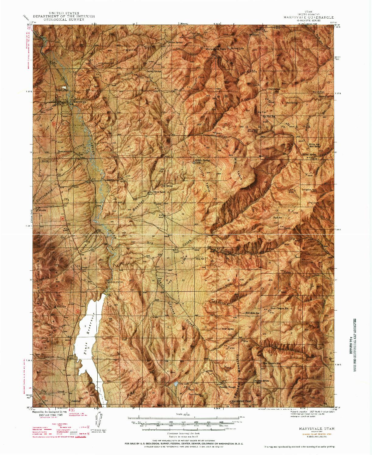 USGS 1:62500-SCALE QUADRANGLE FOR MARYSVALE, UT 1947