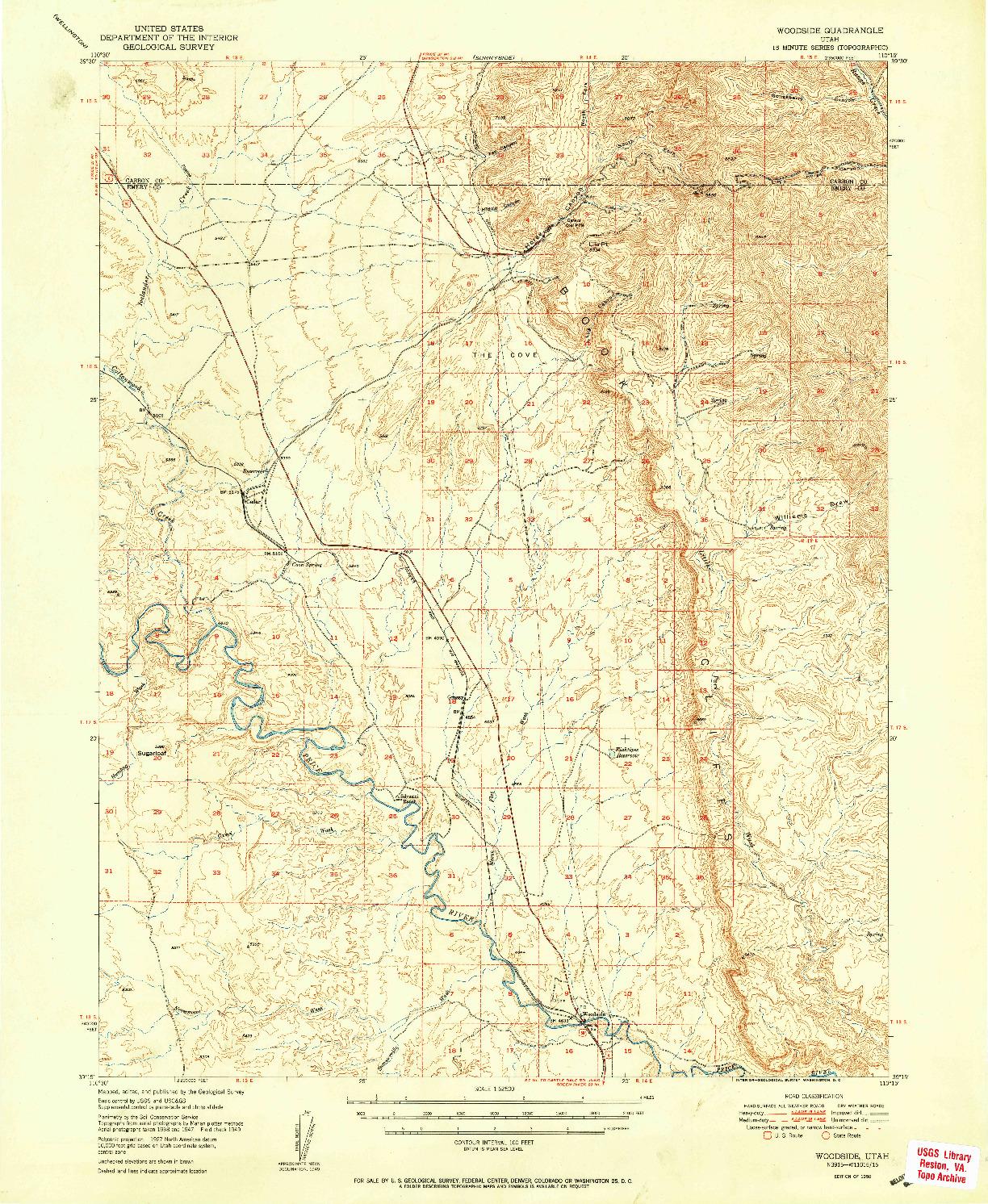 USGS 1:62500-SCALE QUADRANGLE FOR WOODSIDE, UT 1950