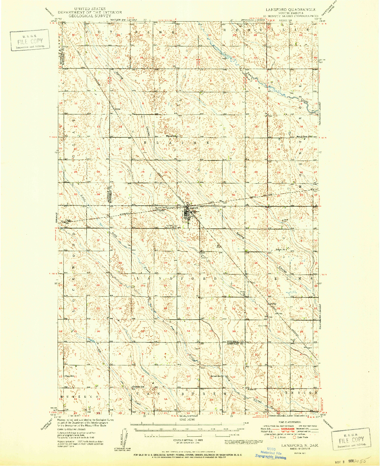 USGS 1:62500-SCALE QUADRANGLE FOR LANSFORD, ND 1950