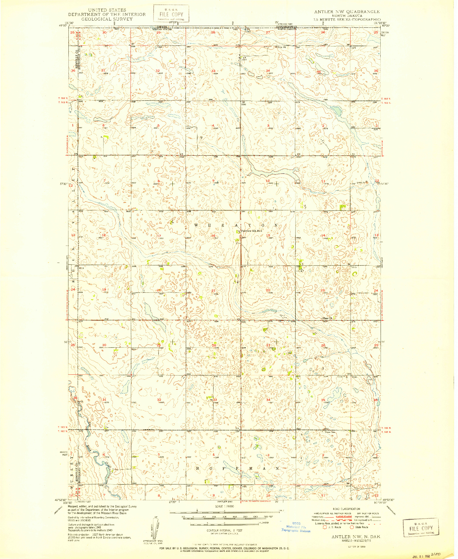 USGS 1:24000-SCALE QUADRANGLE FOR ANTLER NW, ND 1950