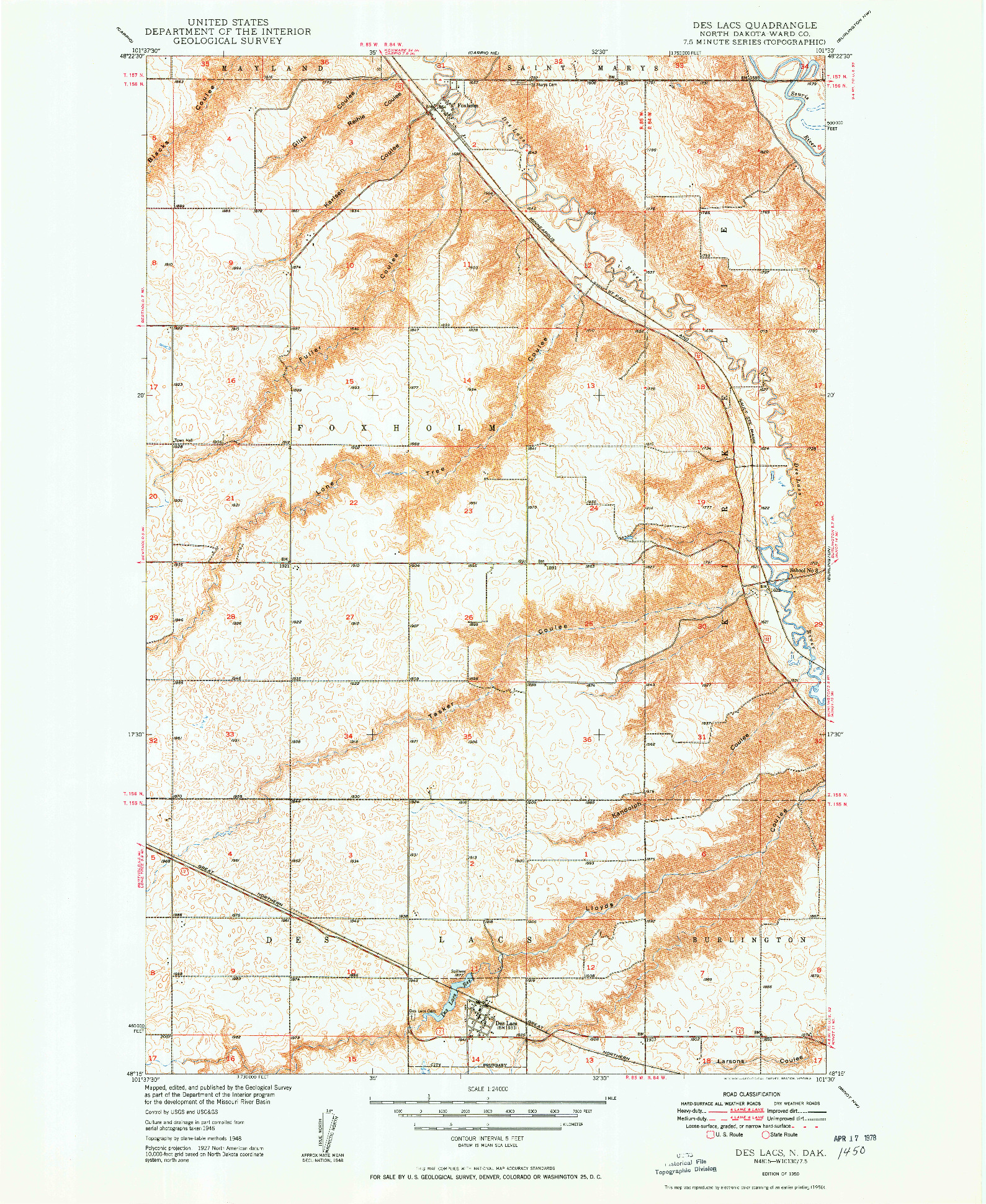 USGS 1:24000-SCALE QUADRANGLE FOR DES LACS, ND 1950