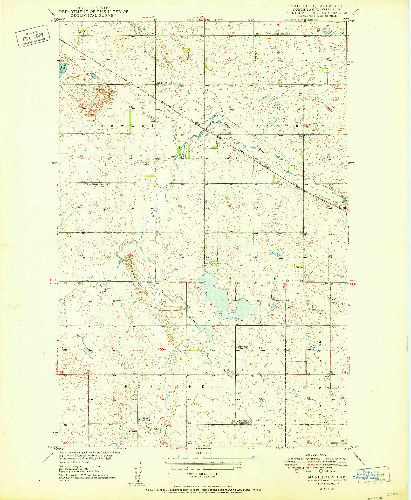 USGS 1:24000-SCALE QUADRANGLE FOR MANFRED, ND 1950