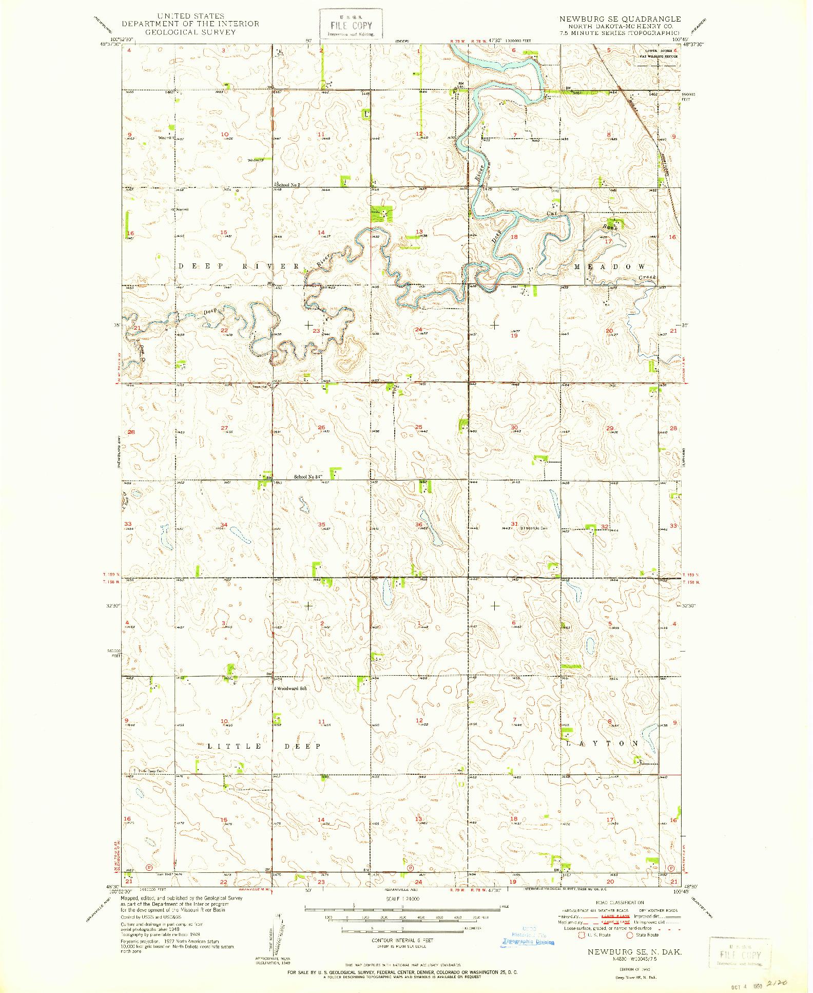 USGS 1:24000-SCALE QUADRANGLE FOR NEWBURG SE, ND 1950