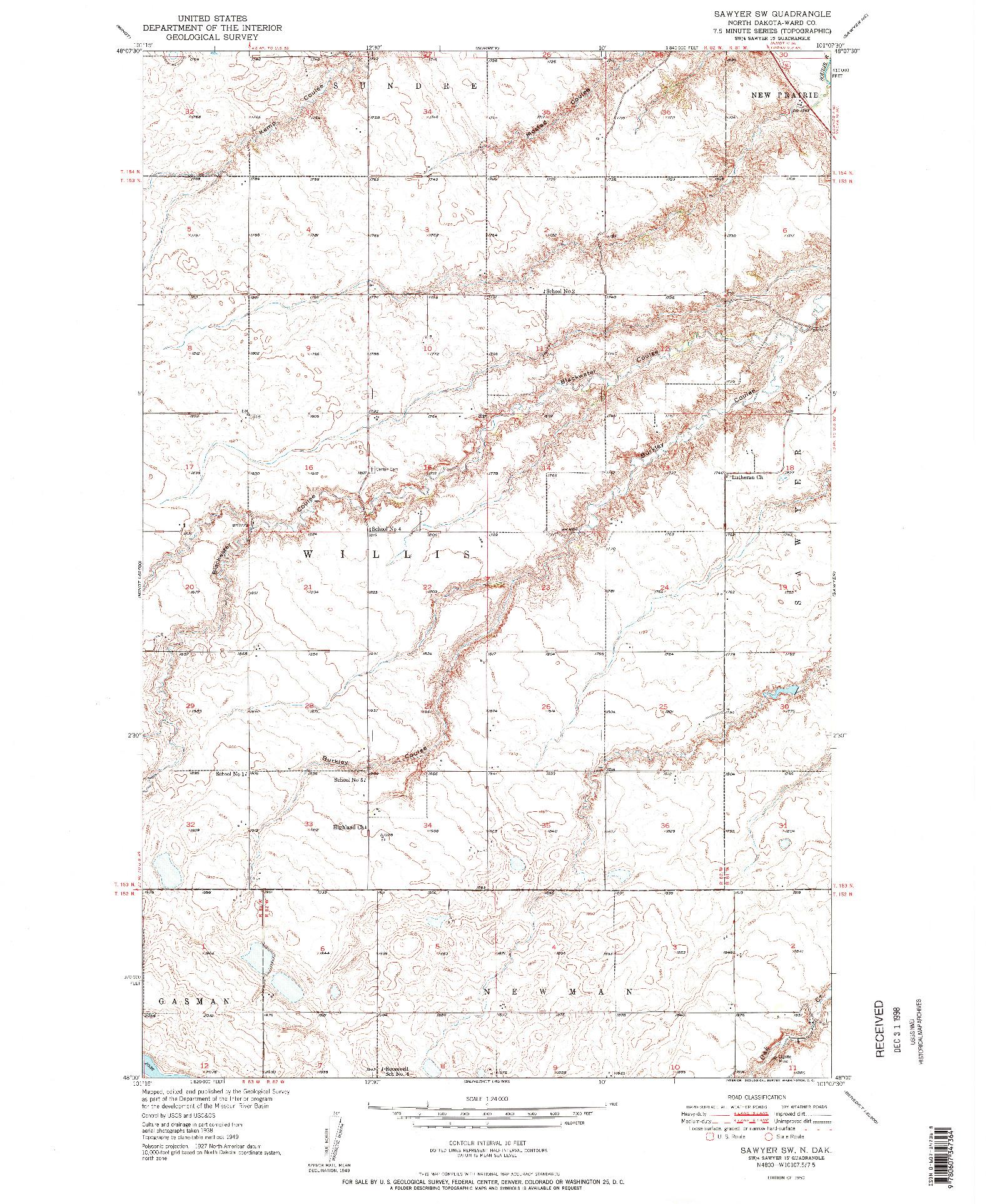 USGS 1:24000-SCALE QUADRANGLE FOR SAWYER SW, ND 1950