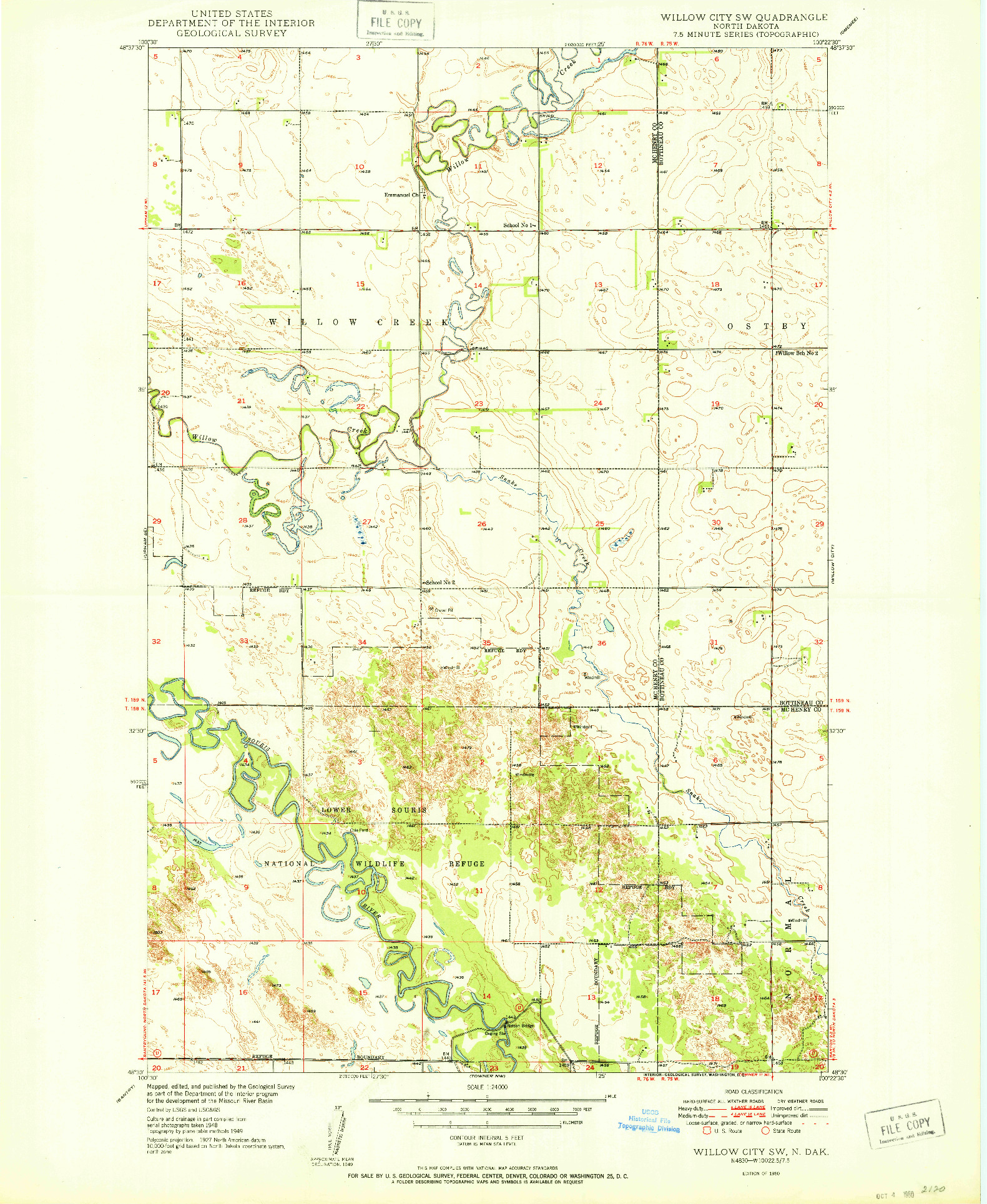 USGS 1:24000-SCALE QUADRANGLE FOR WILLOW CITY SW, ND 1950