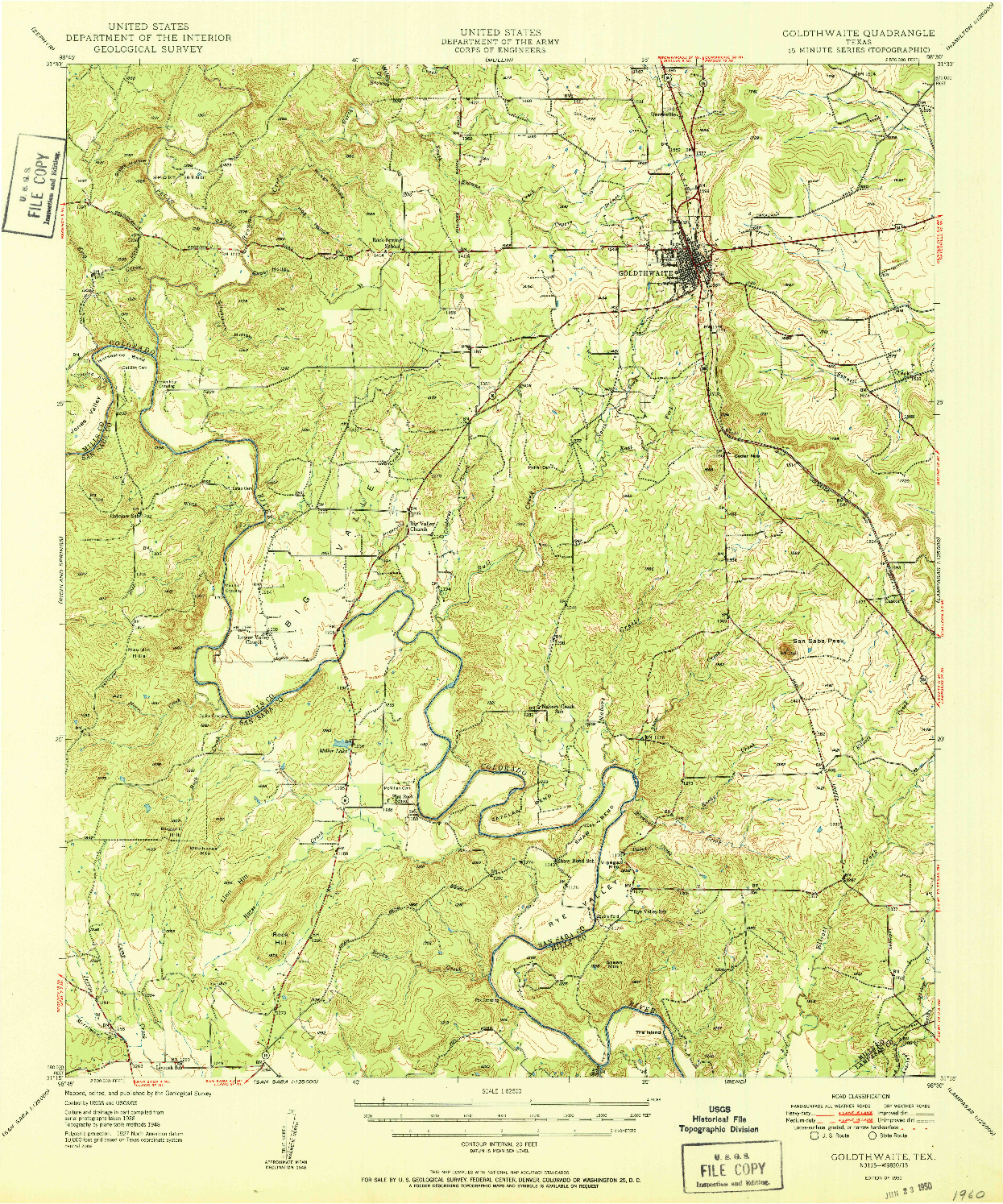 USGS 1:62500-SCALE QUADRANGLE FOR GOLDTHWAITE, TX 1950