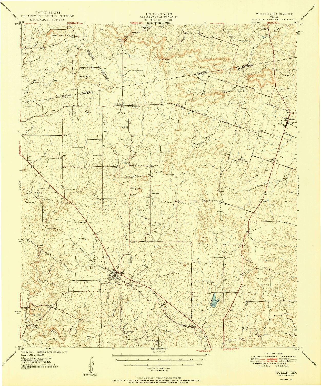 USGS 1:62500-SCALE QUADRANGLE FOR MULLIN, TX 1950