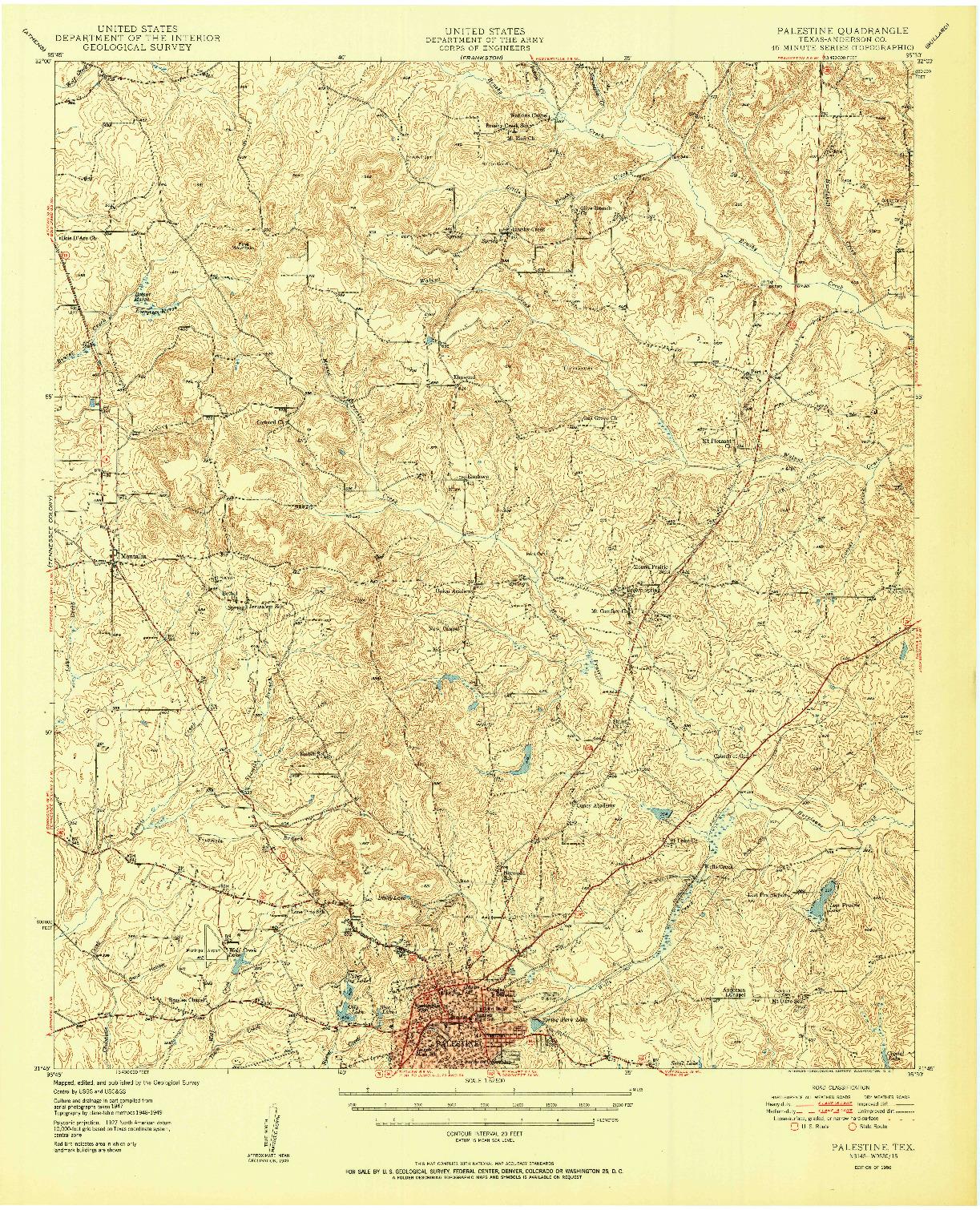 USGS 1:62500-SCALE QUADRANGLE FOR PALESTINE, TX 1950