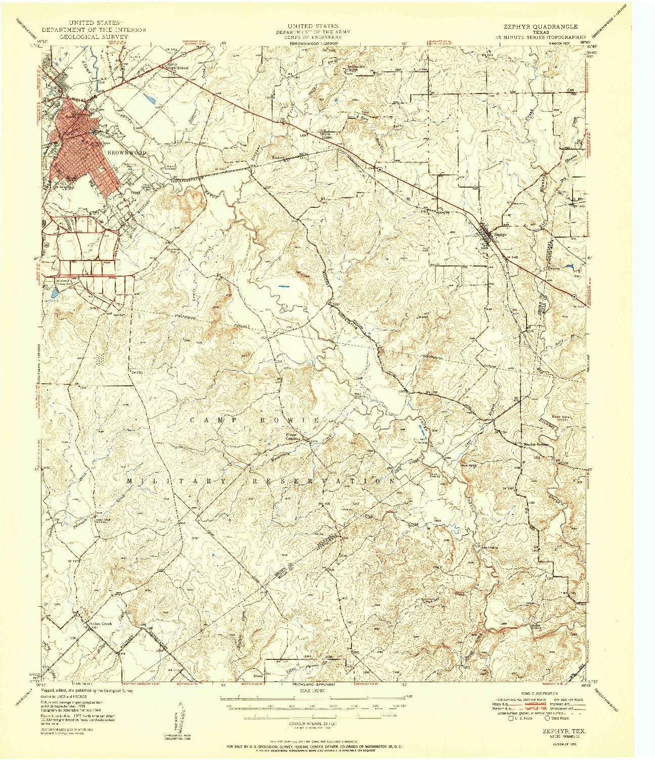 USGS 1:62500-SCALE QUADRANGLE FOR ZEPHYR, TX 1950