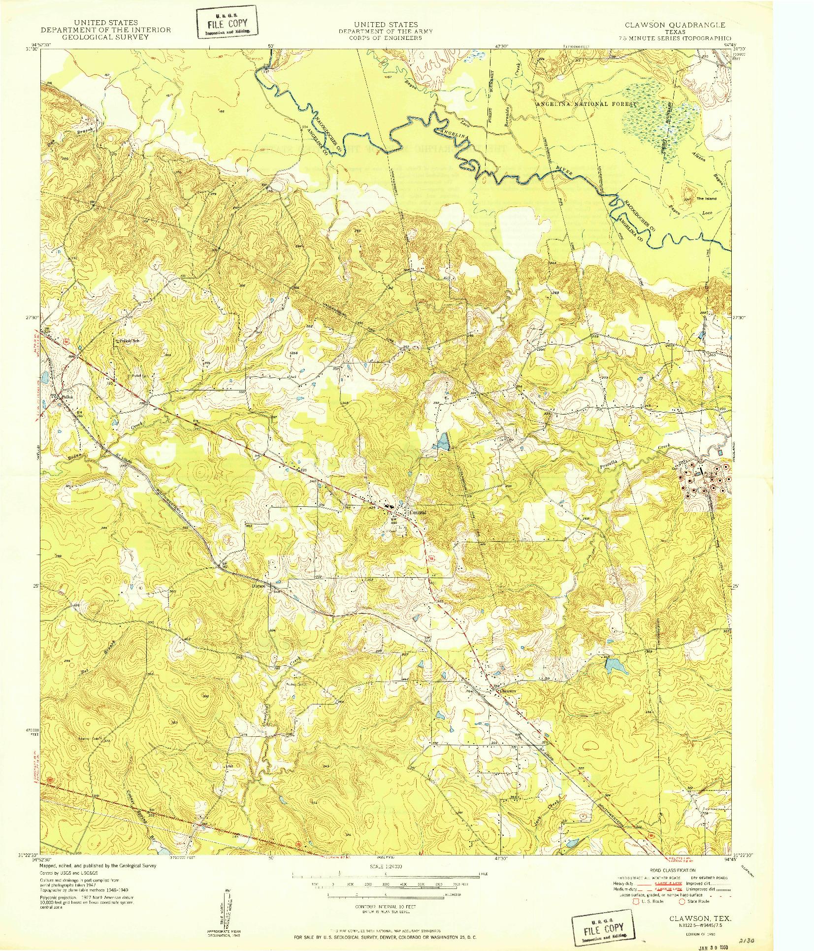 USGS 1:24000-SCALE QUADRANGLE FOR CLAWSON, TX 1950