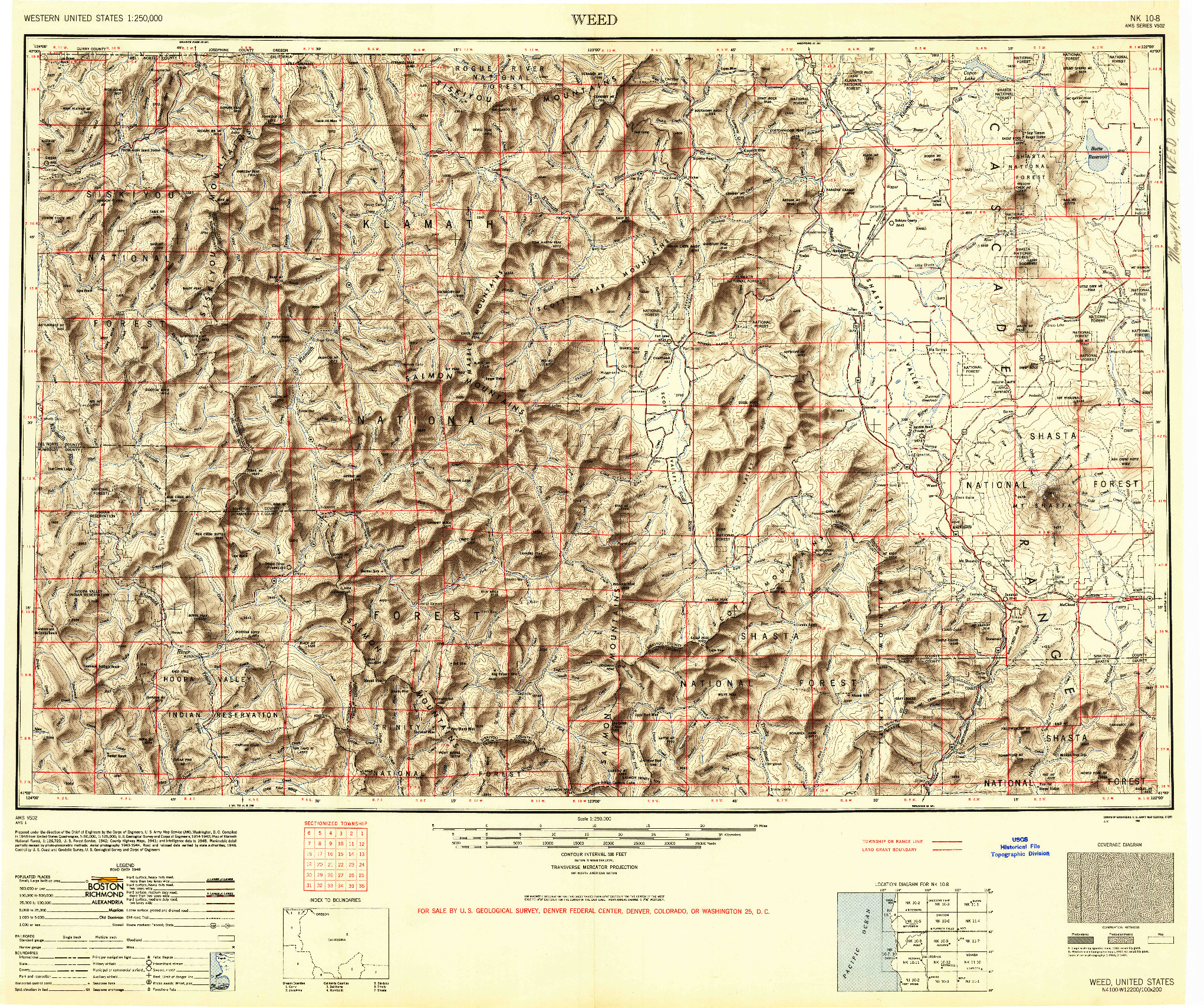 USGS 1:250000-SCALE QUADRANGLE FOR WEED, CA 1948