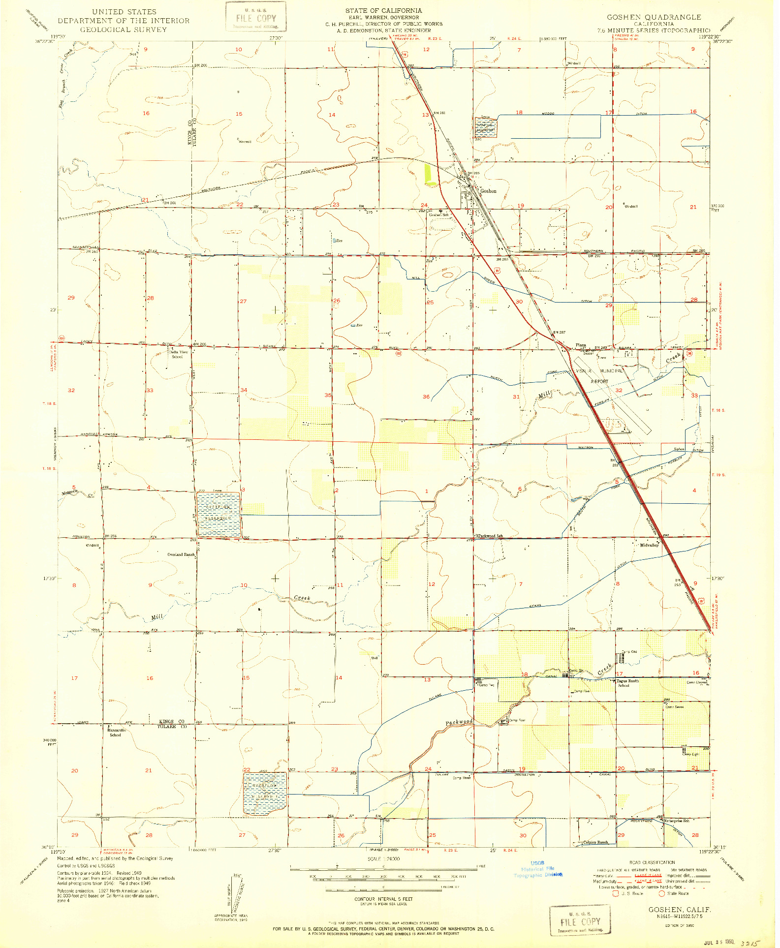 USGS 1:24000-SCALE QUADRANGLE FOR GOSHEN, CA 1950